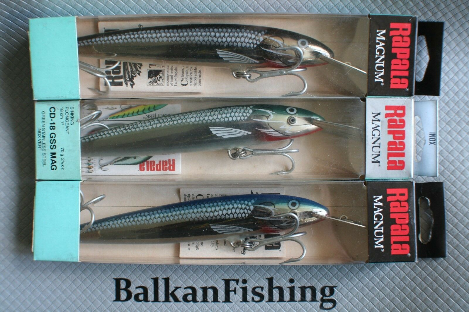 Rapala,Lot of 3, Coundown Magnum  CDMAG-18, color SS GSS BSS,Made in Finland,Rare  healthy