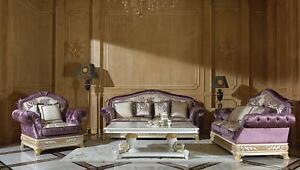 Classique-Sofagarnitur-2-1-Baroque-Rokoko-Style-Antique-Canape-Canapes-E62-Neuf