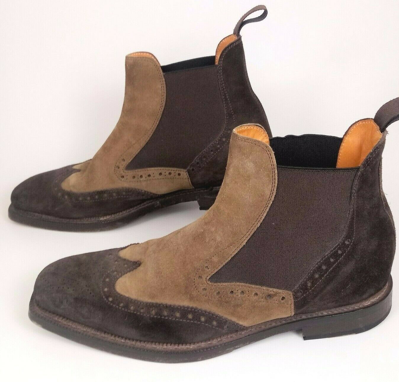 Cuoieria Men 43 Wing Tip Chelsea Boots Brown Tan … - image 1