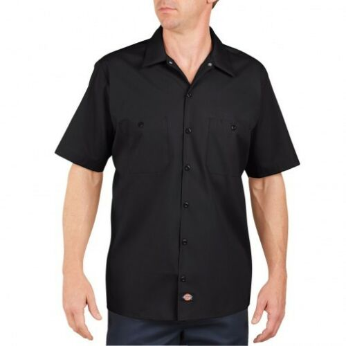 Workwear S-5XL Dickies Mens Short Sleeve Work Shirt Classic BLACK NEW