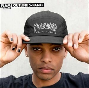 Thrasher-Magazine-UNSTRUCTURED-FLAMES-OUTLINE-5-PANEL-MESH-Strapback-Hat-BLACK