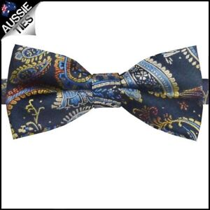 Navy-Blue-amp-Gold-Paisley-Bow-Tie