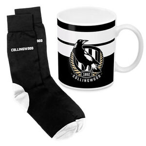 Collingwood-Magpies-AFL-Coffee-Mug-amp-Socks-GIFT-PACK-Christmas-Fathers-Day