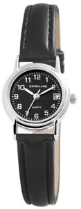 Kleine-Excellanc-Damen-Armbanduhr-24-mm-Lederarmband-Edelstahl-Armband-Uhr-Black