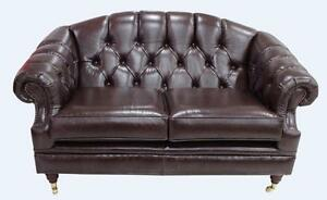 Details About Chesterfield Vintage Victoria 2 Seater Old English Brown Leather Sofa Settee
