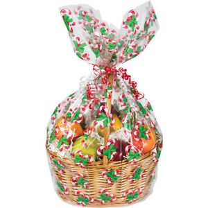Details About Christmas Candy Cane Hamper Wrap Cellophane Basket Gift Wrap Large Cello Bag