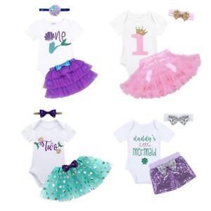 706a971aab72 Baby Girl Mermaid Outfit Romper Dress Tutu Skirt Birthday Costume ...