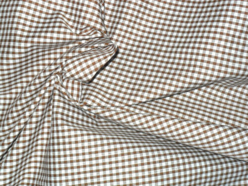 "Brown 1//8/"" Gingham Fabric Material POLY COTTON Crafts Quilting Sewing 1M"