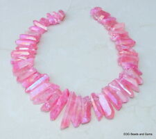 Green AB Titanium Quartz Crystal Points Strand Raw Rough Pendant Beads  20-40+mm