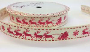 Bertie-039-s-Bows-Christmas-Sleigh-16mm-Ivory-Grosgrain-Ribbon-on-3m-Roll