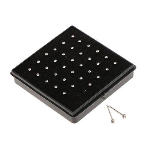 36pcs Nose Ring Stud  Tragus Earring 2mm Crystal Charms 0.6mm Thick Bar
