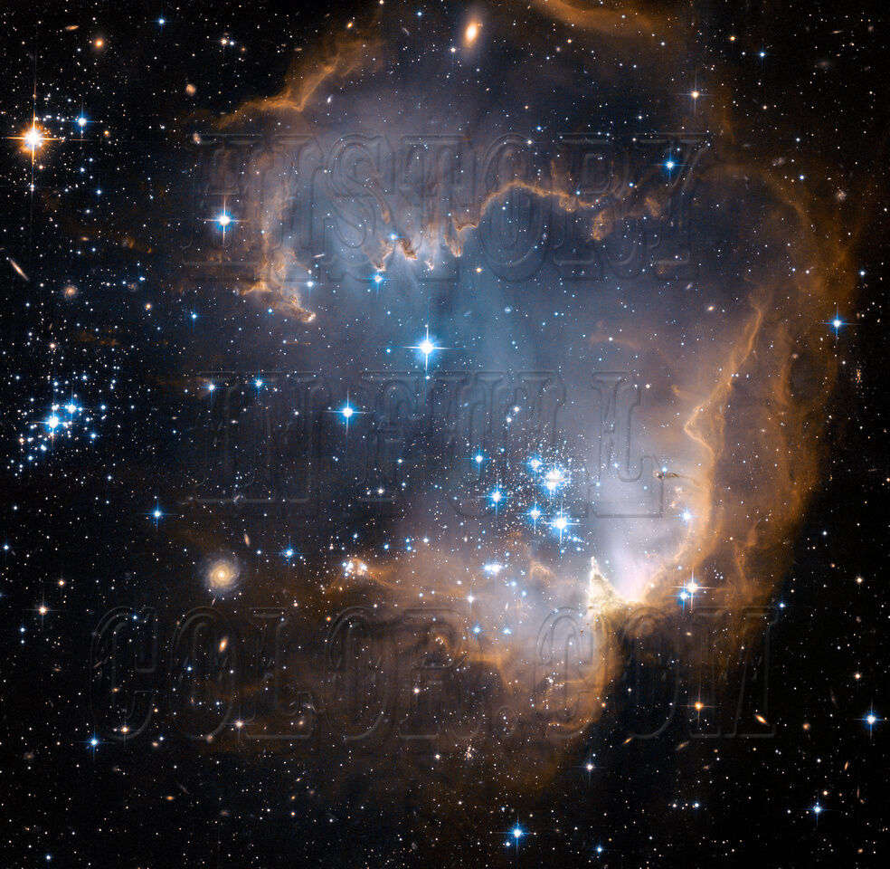 Star Cluster NGC 602 Hubble JPL NASA space telescope photo hs-2007-04-a