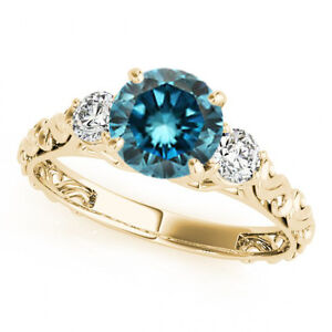 1 Carat Blue SI2 Round 3 Stone Engagement Ring 14k Yellow Gold Best Deal On Ebay | EBay