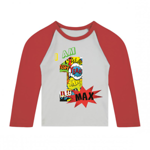 Image Is Loading Personalised I Am 1 Comic Birthday Baseball Top