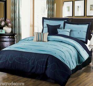 15pc Geo Link Navy Blue Comforter Set Matching Curtain Set Queen Ebay