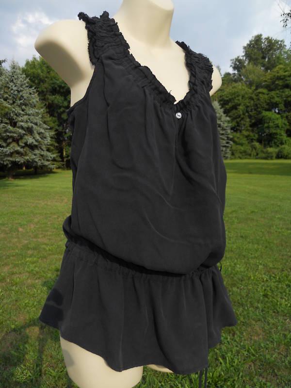Nos Vince Off-Shoulder schwarz Silk Tunic Blouse Tank Top Smocked Beach Shirt L