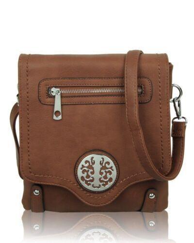 New UK Women/'s Ladies Double Compartment Flap Over Cross-Body Bag//Messenger Bag