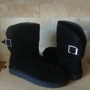 821a64770a6 Details about UGG Remora Buckle Crystal Bling Black Suede Fur Short Boots  Size US 11 Womens