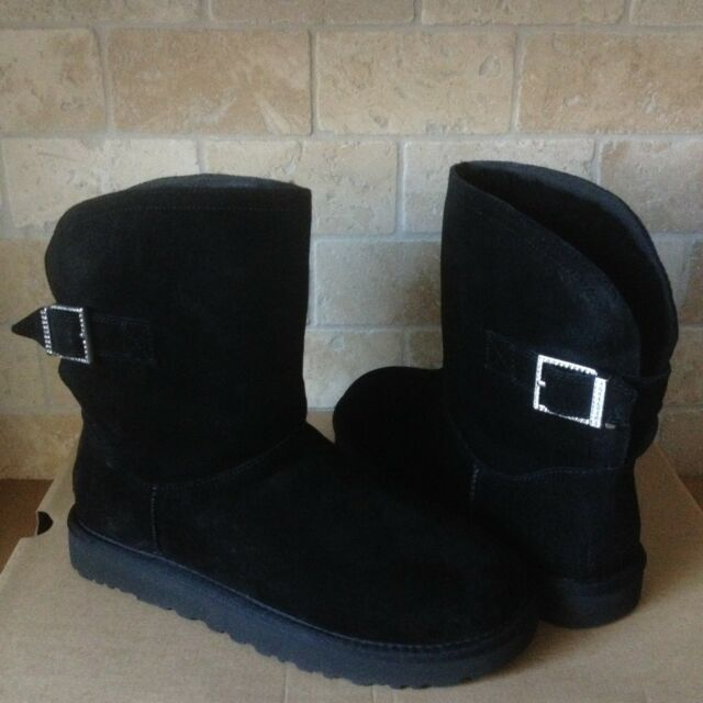 31fe28fbeed UGG Remora Buckle Black Suede Sheepskin Crystal Women`s BOOTS Size US 10