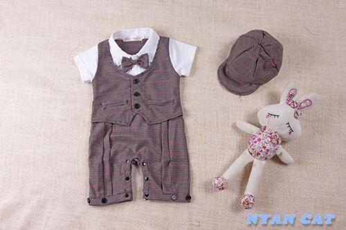 Baby Boy Short Sleeve Tuxedo Hat /& Romper SET w// bow detail Size 0//1//2