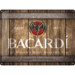 Bacardi-Rum-Holz-Barrel-Nostalgie-Blechschild-40-cm-Tin-sign-shield