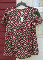 Venezia Red/gray/ivory Short Sleeved Scoop Neck Pintuck Blouse Size 14/16