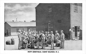 Camp-Kilmer-New-Jersey-WWII-Army-Post-New-Arrivals-With-Duffel-Bags-1940s-B-amp-W-PC