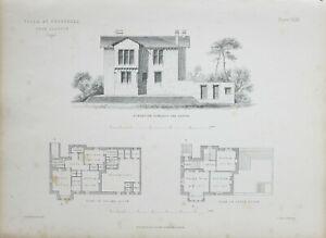 1868-Architektonisch-Aufdruck-Villa-bei-Crosshill-Glasgow-Boden-Plan-Elevation