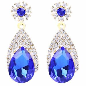 Lusso-Diamante-Splendenti-Intera-Strass-Blu-reale-Goccia-Lunga-Orecchini-A-Perno