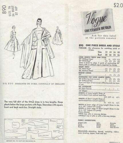 """1956 Vintage VOGUE Sewing Pattern B34/"""" DRESS /& STOLE By SYBIL CONNOLLY 1425"""