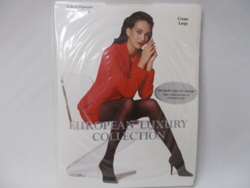 European Luxury Collection Creme Large Velvet Opaque Control Top 3 pair pack!