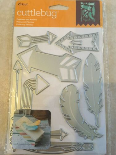 Cricut Cuttlebug Cut /& Emboss Die Set FEATHERS AND ARROWS NEW