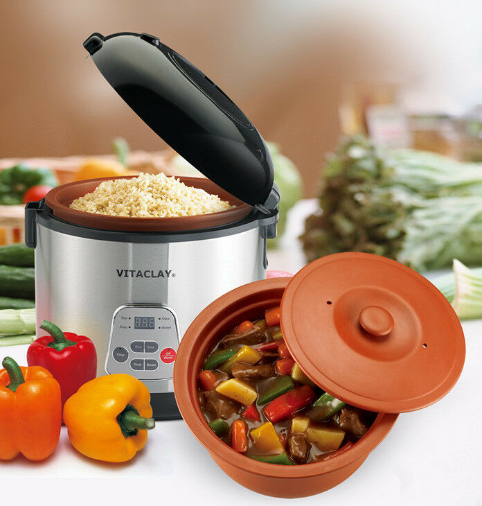 VitaClay 2-in-1 Rice Slow Cooker & Clay Insert - Round 8 cup   4.2-Quart