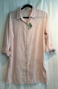 NWT-Sigrid-Olsen-Womens-Linen-Long-Roll-Tab-Sleeve-Button-Down-Pink-Shirt-Size-S