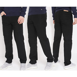 Mens-Black-Straight-Trousers-Ex-Highstreet-Casual-Plain-Black-Regular-Fit