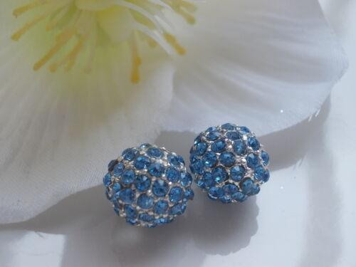 2 shamballa strass perles 10mm Beads Boule Argent Métal version sélection
