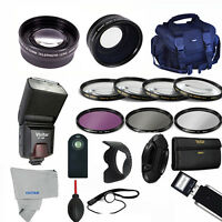Professional Flash / Lens / Accessory Kit For Sony Cyber-shot Dsc-hx400