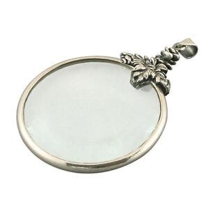 Magnifying magnifier glass silver 925 necklace 22 24 inch chain la imagen se est cargando lupa lupa de cristal collar de plata 925 aloadofball Image collections