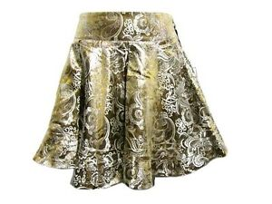 NORMA-JEANE-Metallic-Lurex-Gold-Silver-Paisley-Floral-Pleated-Circle-Skirt-S-4