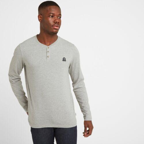 Tog 24 Tetley Mens Long Sleeve Grandad T-Shirt Light Grey Marl