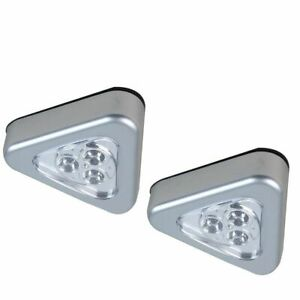 Triangle-led-click-n-stick-light-2-silver-cupboard-cabinet-anywhere-lights