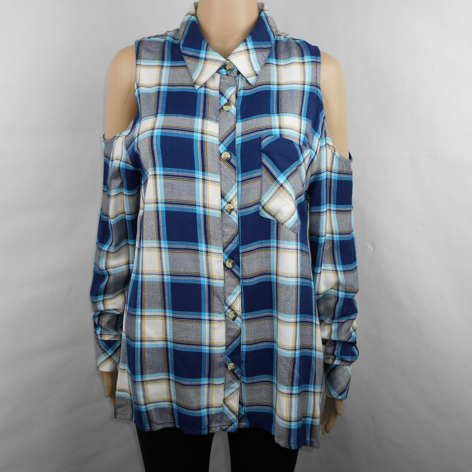 Tolani Anthropologie Navy Paisley Bailey Cold Shoulder Plaid Top Size S Small
