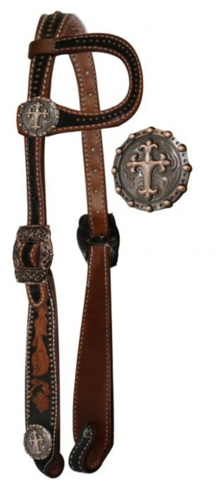 Showman Vintage Style One Ear Horse Headstall with Raised Celtic Cross Conchos