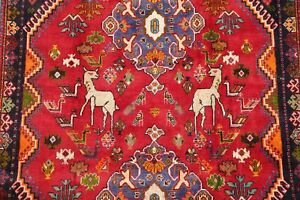 Geometric-Tribal-Animal-Pictorial-Abadeh-Area-Rug-Hand-Knotted-Oriental-Wool-5x8