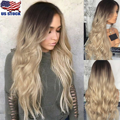 28 Long Curly Blonde Ombre Hairstyle Women Wig Hair Wigs Synthetic Full Wig Us Ebay