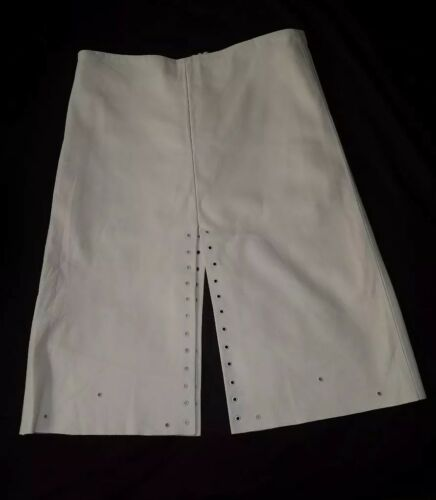 White A Line Leather Skirt Size: