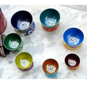 Singing bowl Chakra set-Handmade singing bowl 7 chakra set from Nepal