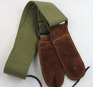 Green-Adjustable-Leather-ends-Guitar-Strap-For-Electric-Acoustic-Guitar-Bass