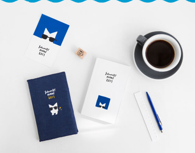 2017 SnowCat Diary Planner Scheduler Journal Korean Cute kawaii Agenda Notebook