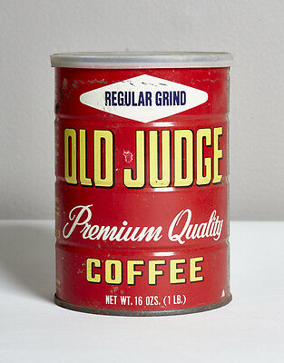 Vintage 1lb Old Judge Coffee Can St Louis Company Little Owl Metal Tin